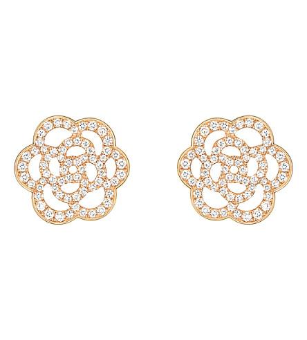 CHANEL Camélia 18K 粉红金钻石耳环