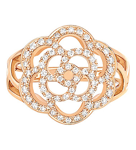 CHANEL Camélia 18K pink gold and diamond ring
