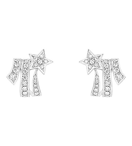 CHANEL Comète 18K 白金钻石耳环
