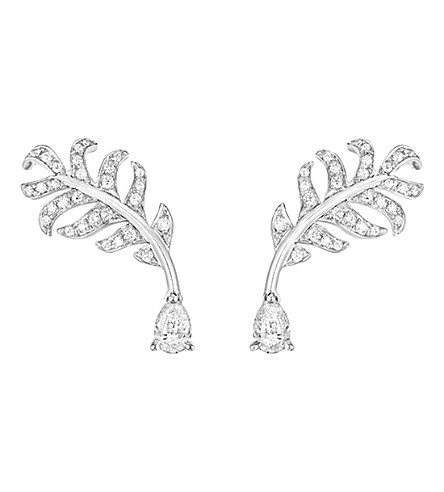 CHANEL Plume de Chanel 18K white gold and diamond earrings