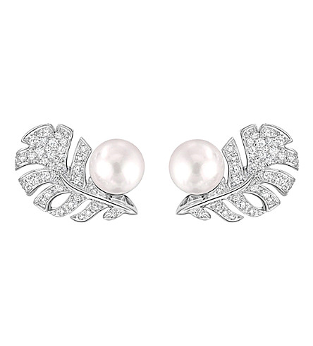 CHANEL Perle Plume 18K white gold, cultured pearl and diamond earrings