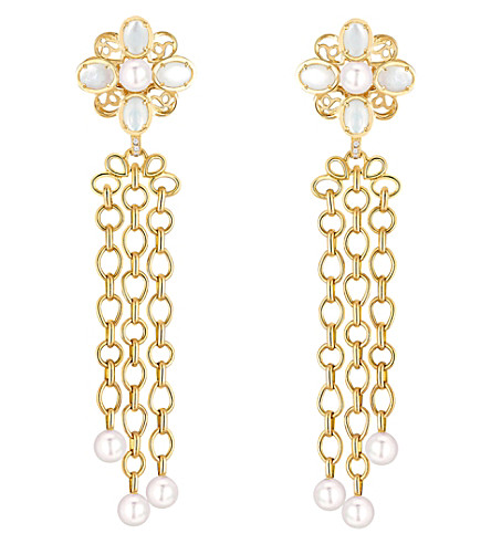 CHANEL Perles Chaînes 18K yellow gold, cultured pearl, mother of pearl and diamond earrings