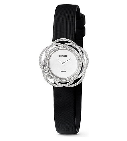 CHANEL Camélia 18ct white gold and diamond jewellery watch