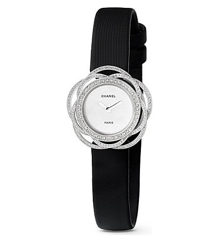 CHANEL Camélia 18ct white gold and diamond jewellery watch