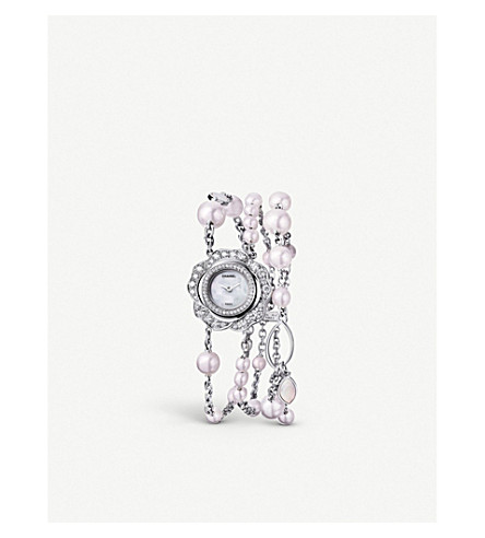 CHANEL Camélia 18ct white gold, diamond and pearl jewellery watch