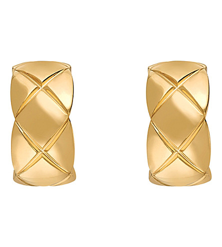CHANEL 可可粉碎18K 黄色金耳环