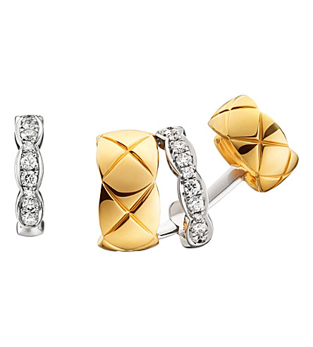 CHANEL Coco Crush 18K white and yellow gold diamond earrings