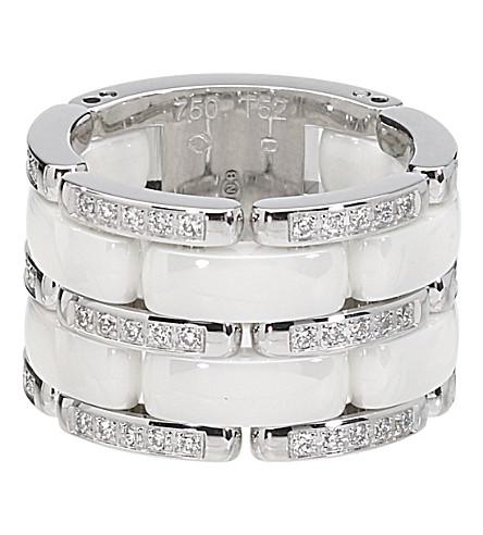 CHANEL 超18K 白金, 白色陶瓷和钻石戒指。大版本