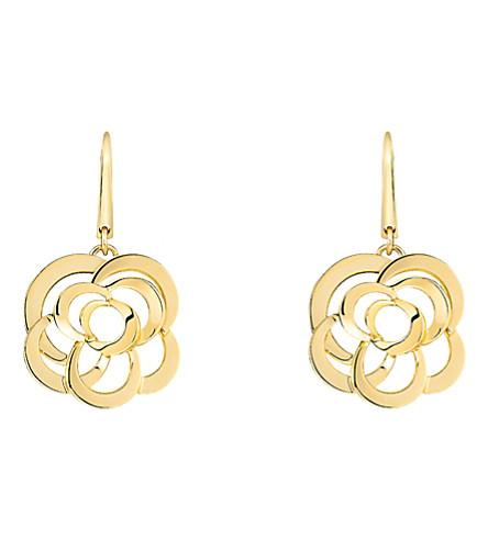 CHANEL Camélia 18K yellow gold earrings