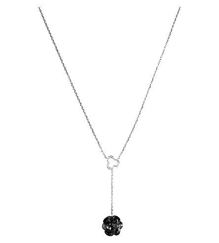 CHANEL Camélia 18K 白金, 玛瑙和钻石项链