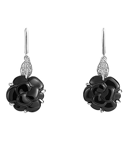 CHANEL Camélia 18K white gold, onyx and diamond earrings