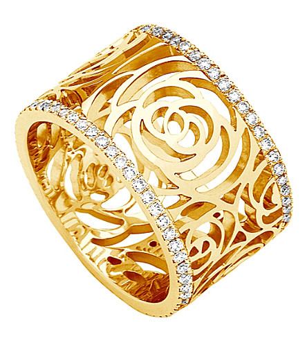 CHANEL Camélia 18K yellow gold and diamond ring. Large version