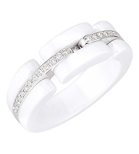CHANEL Ultra 18K white gold, white ceramic and diamond ring. Medium version