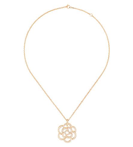 CHANEL Camélia 18K pink gold and diamond pendant
