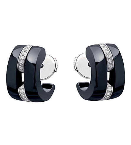 CHANEL Ultra 18K white gold, black ceramic and diamond earrings