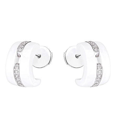 CHANEL Ultra 18K white gold, white ceramic and diamond earrings
