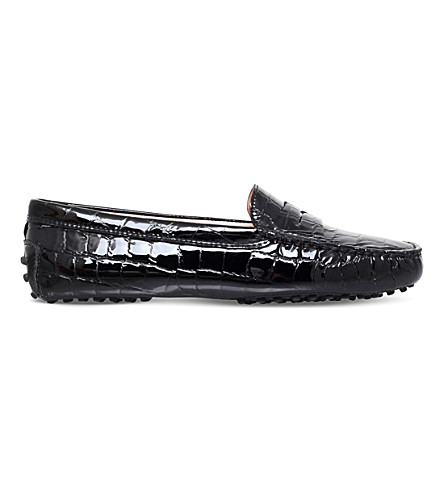 TODS Mocassino crocodile-effect patent leather loafers (Black