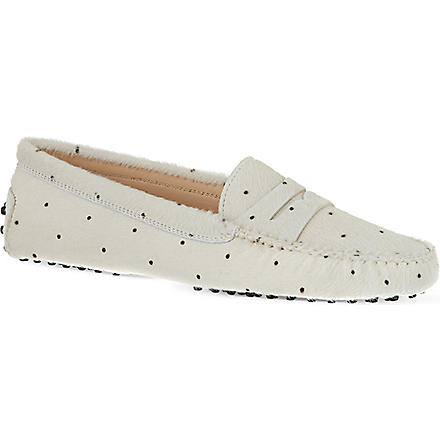 TODS Gommino Driving Shoes in Ponyskin-effect Leather (White/blk