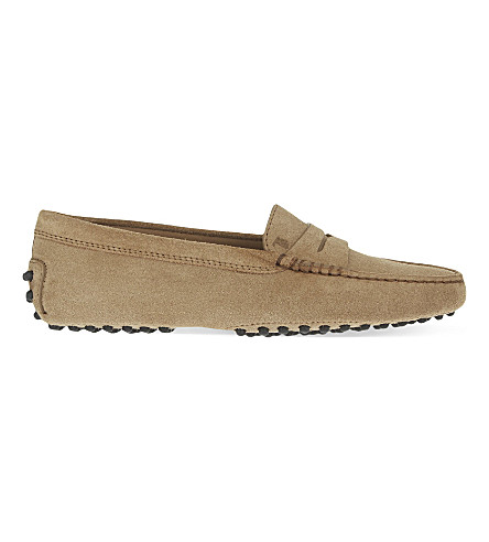 TODS Mocassino suede driving shoes (Taupe