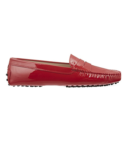 TODS Patent leather mocassino loafers (Red