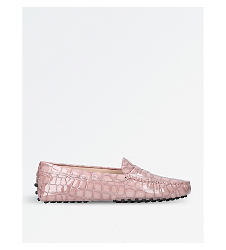 TODS Mocassino croc-embossed leather driving shoes (Pale+pink