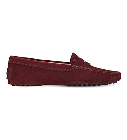 TODS Gommino suede driving shoes (Wine