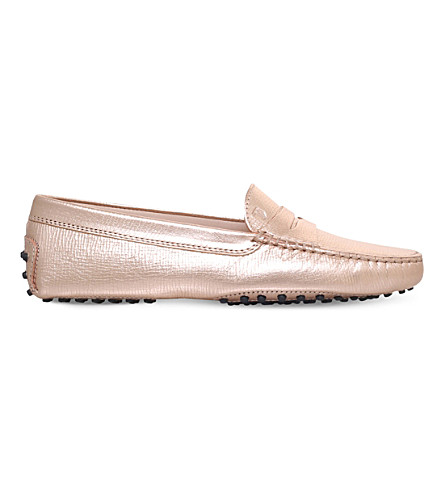 TODS Mocassino metallic-leather driving shoes