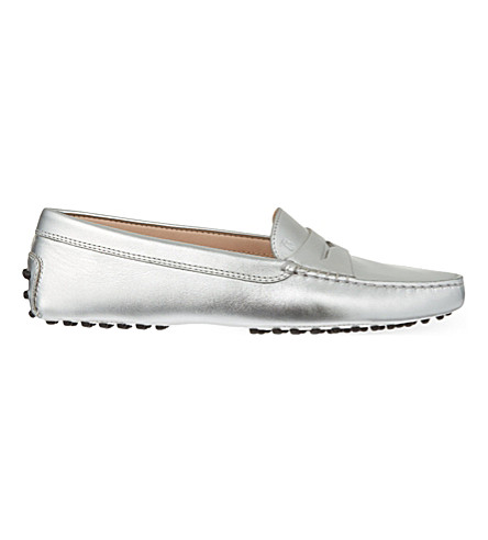 TODS Gommino metallic driving shoes (Silver