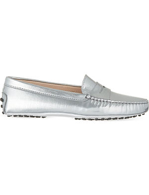 TODS Metallic leather driving shoes