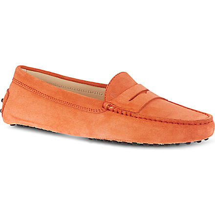 TODS Gommino moccasin suede driving shoes (Orange