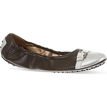 TODS Leather Ballerinas (Black/comb