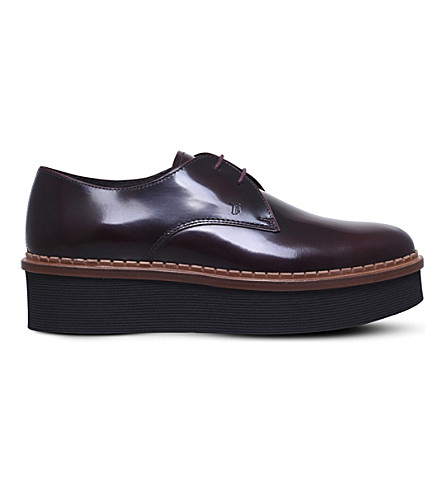 TODS Gomma allaciata leather flatform shoes (Wine