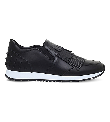 TODS Sportivo fringe leather trainers (Black
