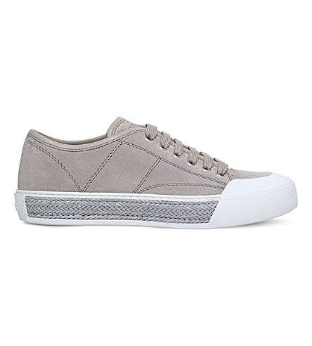 TODS Low-top jute-trim leather trainers