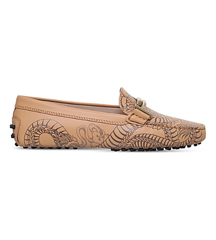TODS Gommino dragon-print leather driving shoes (Camel