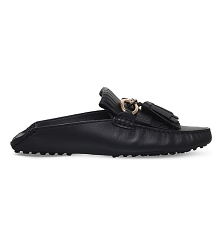 TODS Gommino fringed leather mules (Black