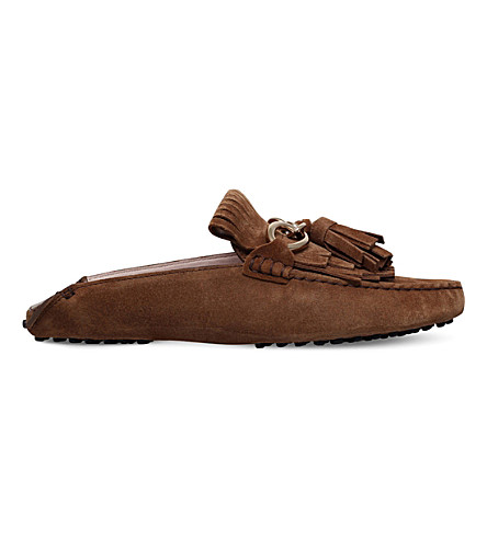 TODS Gommino fringed suede mules (Mid+brown