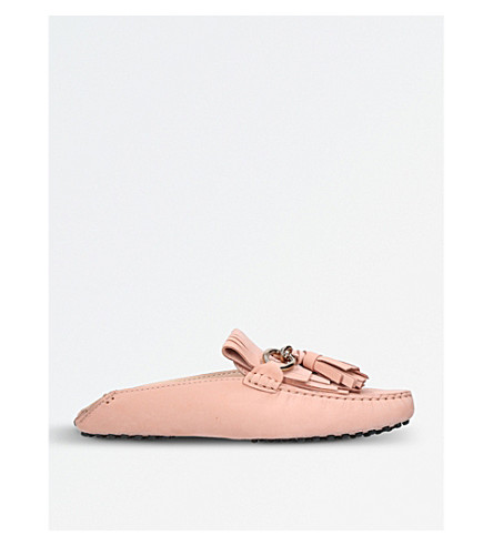 TODS Pantofola fringed leather mules (Pale+pink