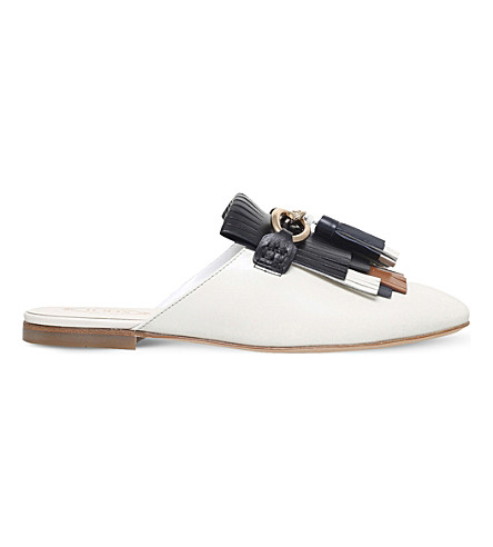 TODS Tasselled leather backless loafers (White/blk