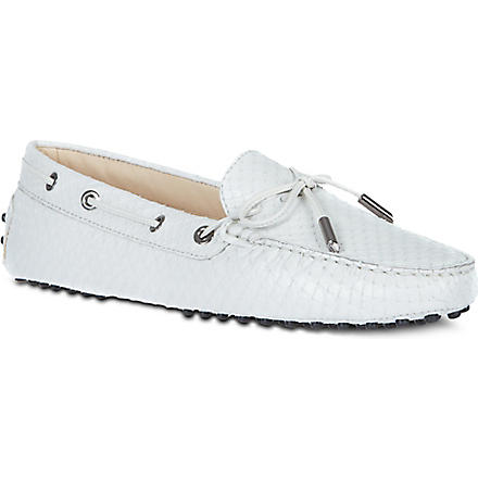 TODS Gommino Heaven python leather driving shoes (White