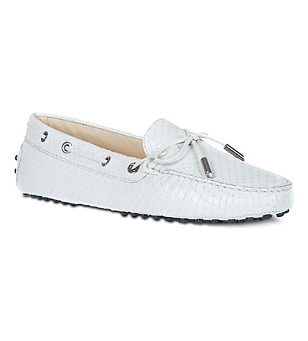 TODS Gommino Heaven Driving Shoes in Python Leather (White