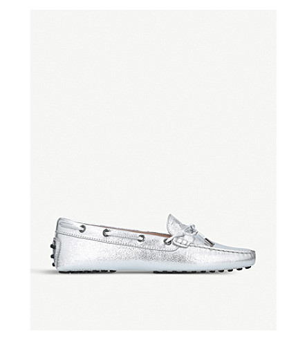TODS Heaven metallic-leather moccasins (Silver