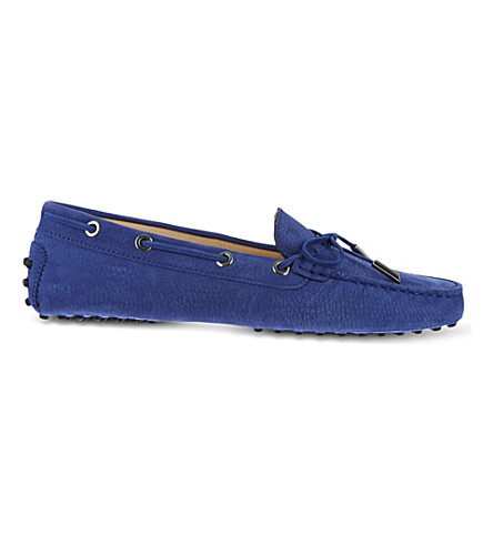 TODS Gommino Heaven Driving Shoes in Suede (Mid+blue