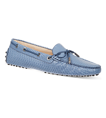 TODS Gommino Heaven Driving Shoes in Python Leather (Denim