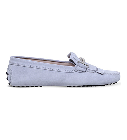 TODS Gommini maxi suede driving shoes (Grey/light