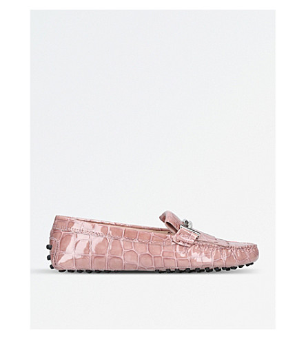 TODS Gommino reptile-embossed leather driving shoes (Pale+pink