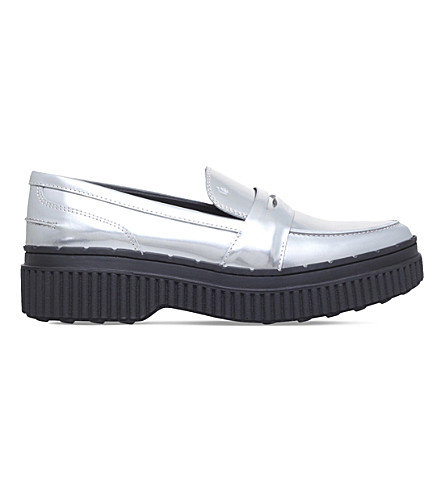 TODS Gomma metallic-leather platform loafers (Silver