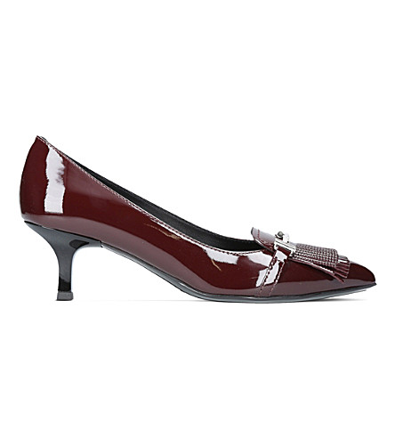TODS Gom T50 Frangia patent leather heels (Wine