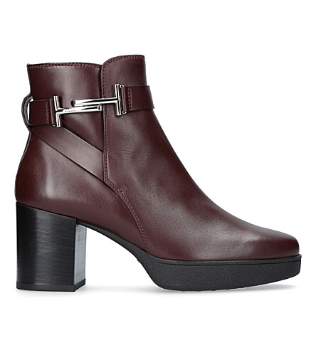 TODS Leather ankle boots (Wine