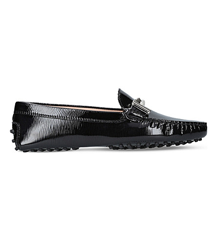 TODS Gommini Maxi patent-leather driving shoes (Black